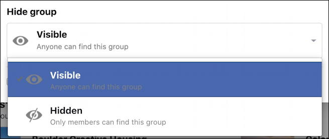 create facebook group - search results hiding