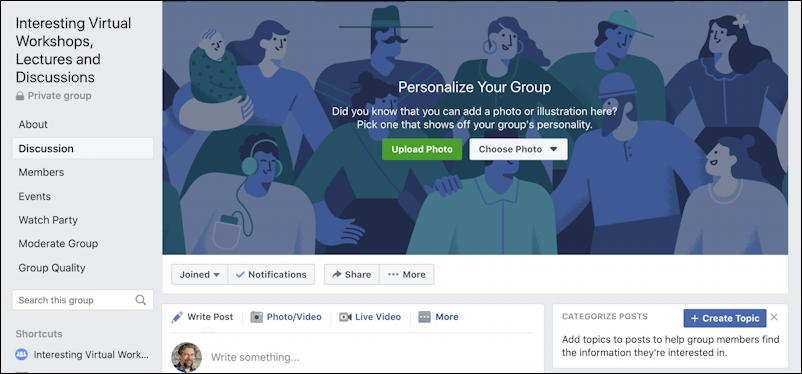 create facebook group - new group created fb