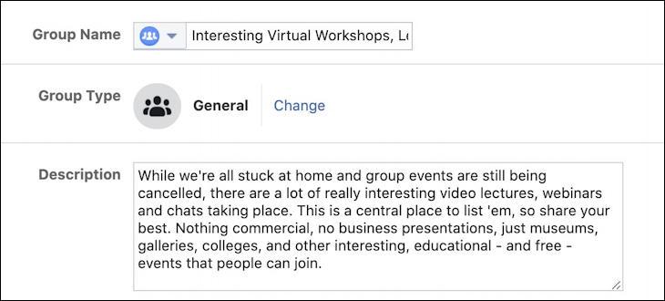 create facebook group - tweak name description