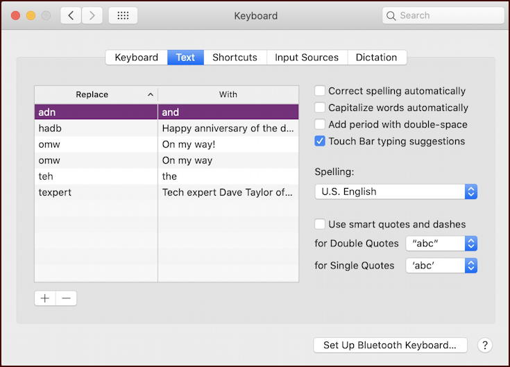 macos x shortcuts keyboard typing - setup configuration