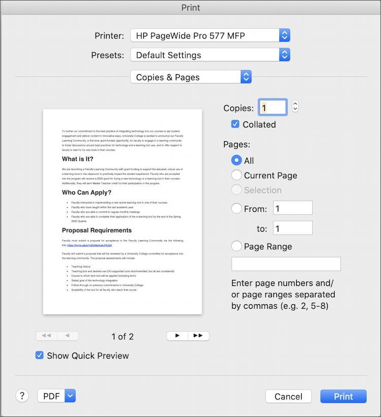 microsoft word for mac - print dialog window box