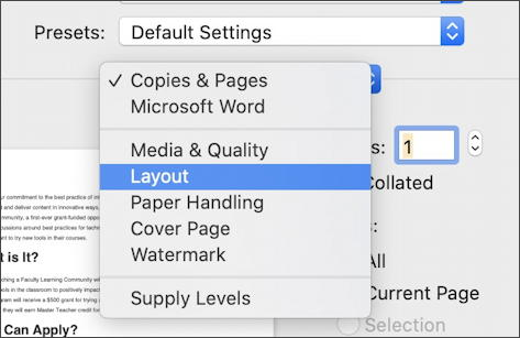 microsoft windows for mac - printing - layout options