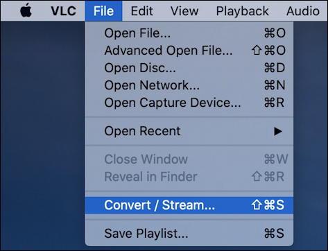 vlc convert mkv mp4 - file > convert