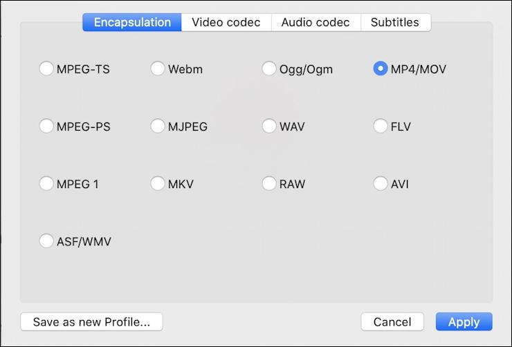 vlc convert mkv mp4 - output format