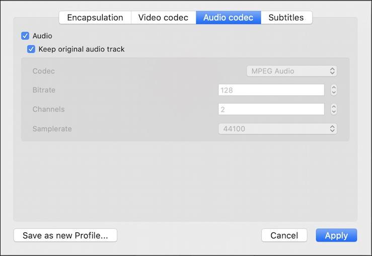 vlc convert mkv mp4 - audio codec