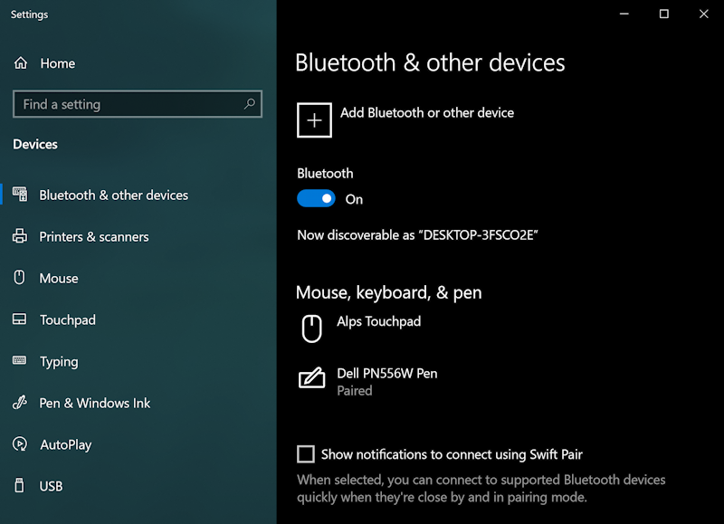 win10 - bluetooth settings preferences pair