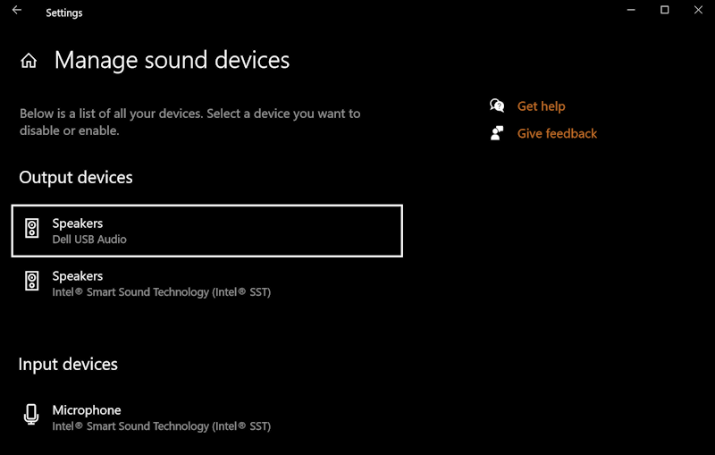 win10 manage output audio sound devices hdmi tv