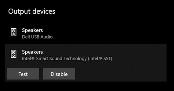 win10 audio sound output - disable test