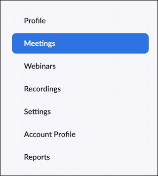 zoom main admin menu - set zoom meeting password