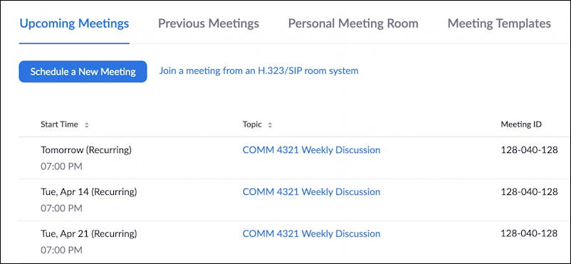 Recurring zoom meeting schedule - set zoom meeting password