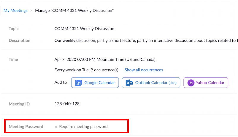 details of zoom recurring meeting set zoom meeting password