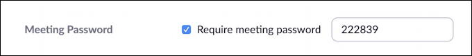 suggested numeric password - set zoom meeting password