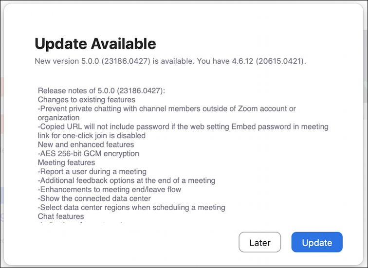 mac zoom - version 5.0 available - update - what's new