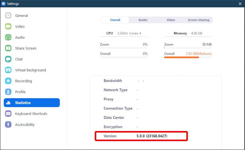 zoom windows pc - check version - settings statistics