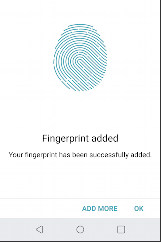 lg g6 - android 8.0 - add fingerprint - fingerprint added