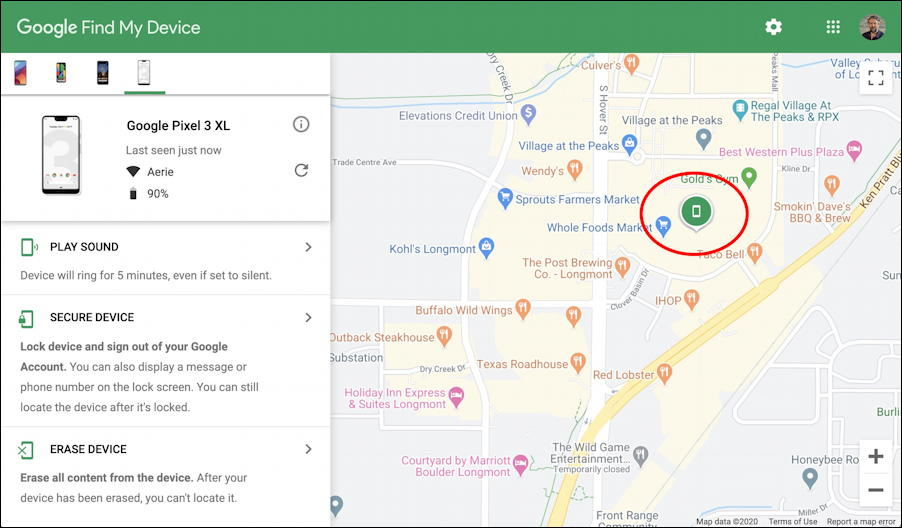 google android - find my phone - main page with map