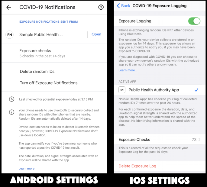 android ios13 covid-19 contact tracing settings preferences