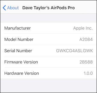 iphone ios13 settings > general > about > airpods pro - old firmware