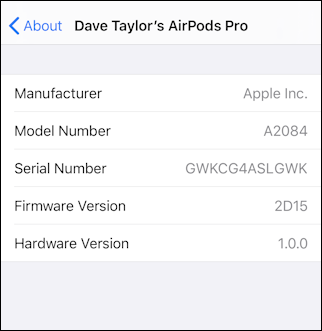 iphone ios13 settings > general > about > apple airpods pro firmware version