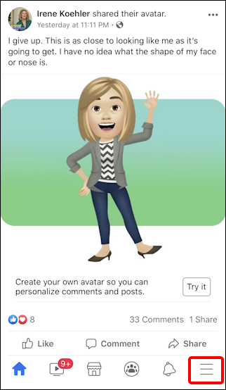 facebook create avatar - friend posted