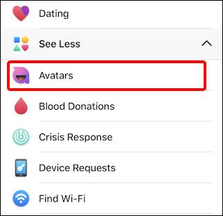 facebook create avatar - menu - avatar