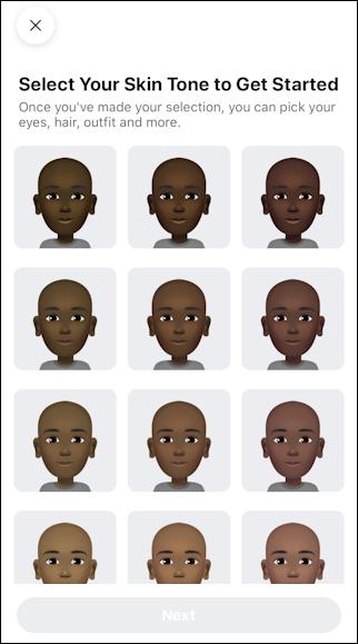 facebook create avatar - choose skin color