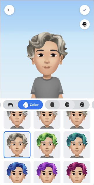 facebook create avatar - interim avatar hair color