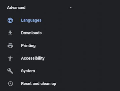 google chrome - advanced settings preferences