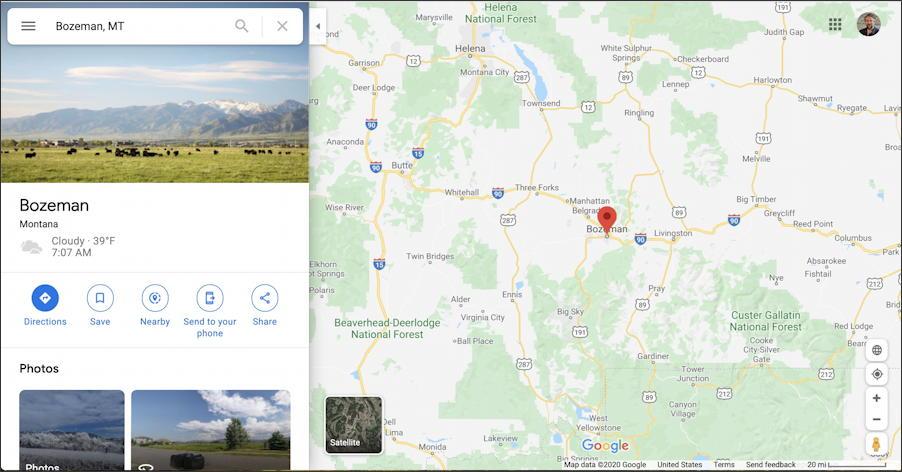 google maps - bozeman mt