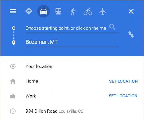 google maps - enter destination