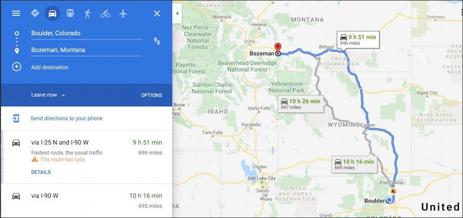google maps - boulder to bozeman