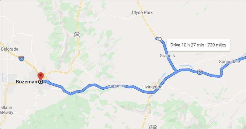 google maps - route to bozeman via chadborn