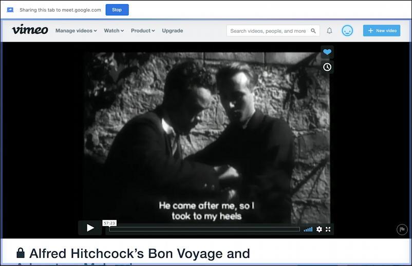 google meet - share tab - vimeo movie