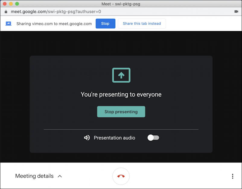 google meet - sharing present chrome tab presenting to everyone