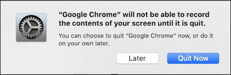 google chrome can't record screen until quit restart