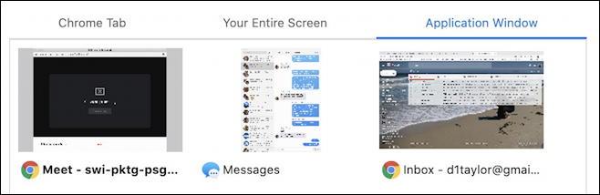 google meet - share present application window