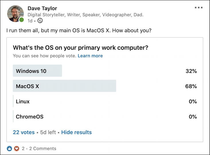 what os poll linkedin with results