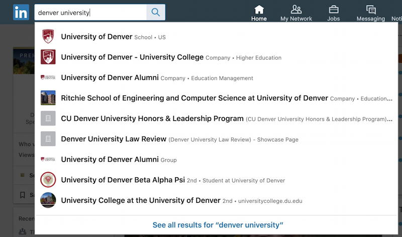 linkedin newsfeed - search for university of denver du