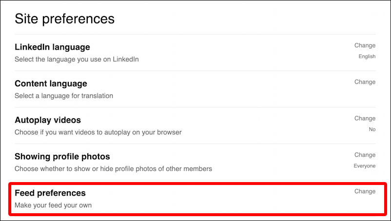 linkedin newsfeed - feed preferences