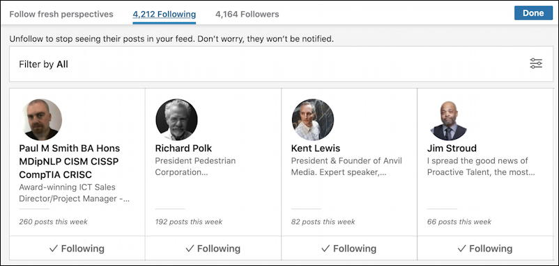 linkedin newsfeed - people I'm following on LI