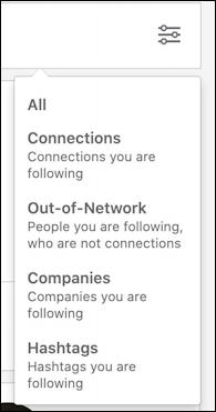 linkedin newsfeed - following filter