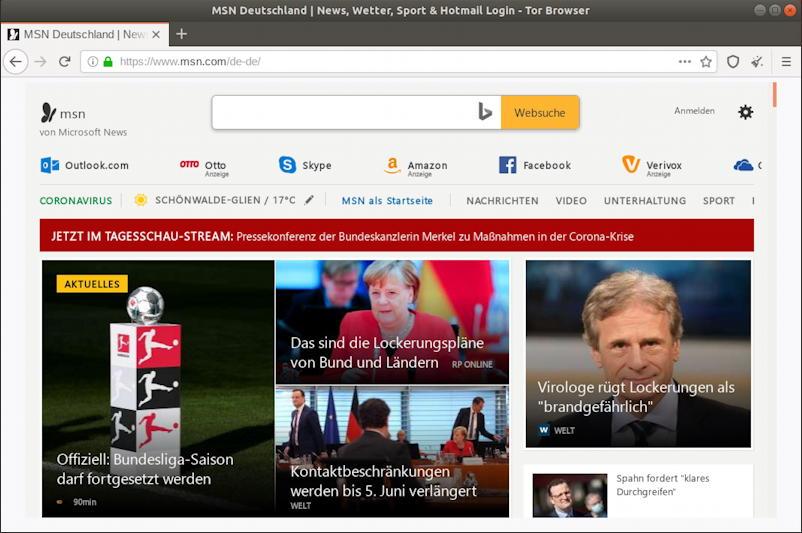 msn.com through tor browser - linux - in german