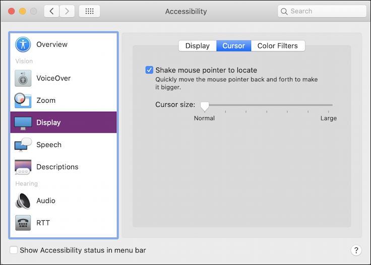 mac macos x - make cursor larger bigger - accessibility pane window