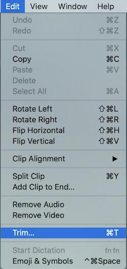 mac quicktime player edit menu