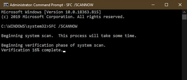 windows command prompt - sfc /scannow