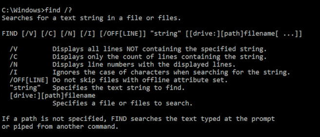 windows command prompt - FIND /? help
