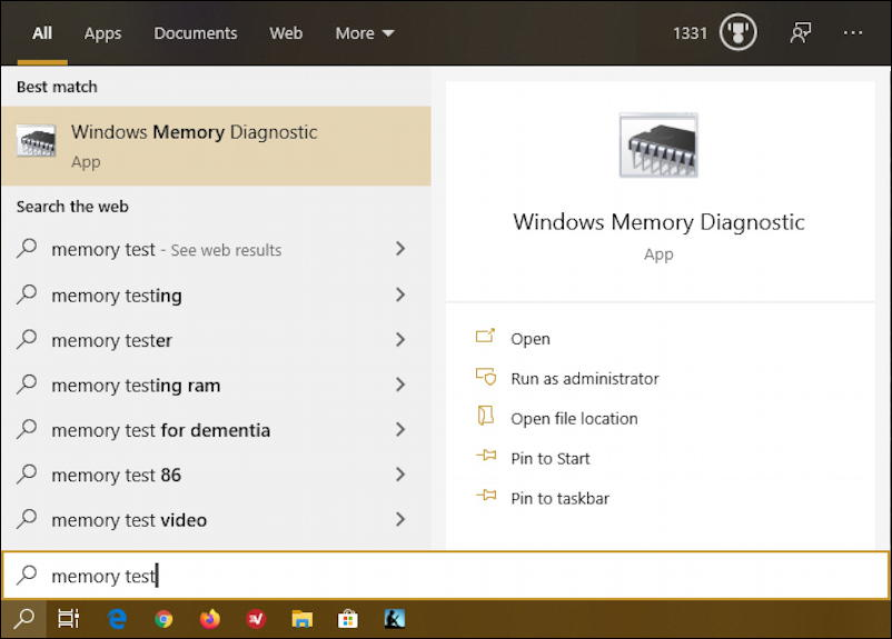 windows 10 memory ram diagnostic test search