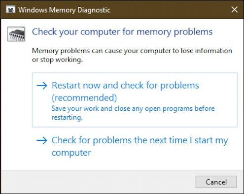 win10 run windows memory diagnostic - launch window