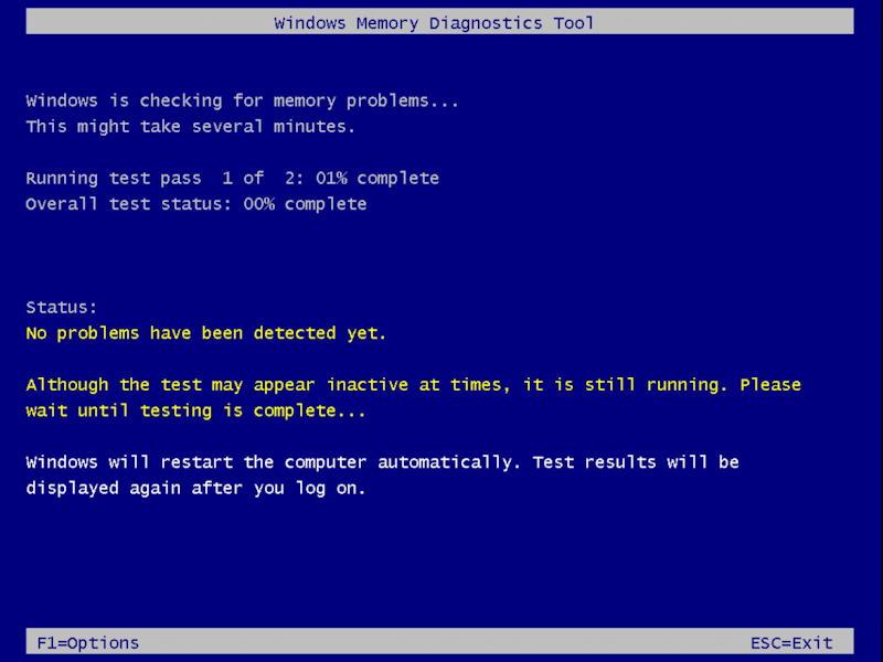 win10 run windows memory diagnostic - running