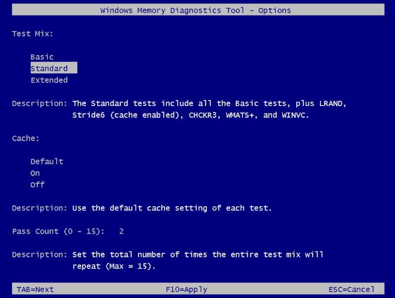 win10 run windows memory diagnostic - options f1